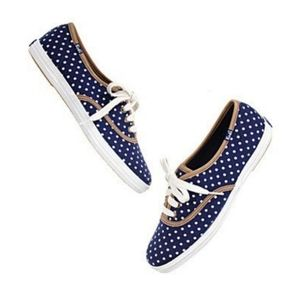 KEDS Navy & White Polk-a-dot Lace-Up Sneakers